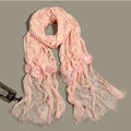 High-end Fashion long flower scarf shawl women warm lace mink wrap scarves - Pink