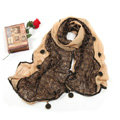 High-end Fashion long scarf shawl women warm lace chiffon wrap scarves - Khaki
