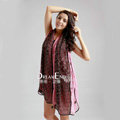 High-end Fashion long scarf shawl women warm lace chiffon wrap scarves - Pink