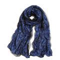 High-end Fashion long scarf shawl women warm silk lace wrap scarves - Blue