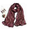 High-end Fashion long scarf shawl women warm silk lace wrap scarves - Pink