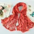 High end fashion embroidery flower lace silk long scarf shawl women wrap scarves - Orange