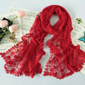 High end fashion embroidery flower lace silk long scarf shawl women wrap scarves - Red