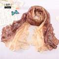 High end fashion embroidery flower lace silk scarf shawl women long gradient wrap scarves - Coffee