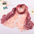 High end fashion embroidery flower lace silk scarf shawl women long gradient wrap scarves - Pink