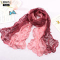 High end fashion embroidery flower lace silk scarf shawl women long gradient wrap scarves - Rouge