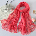 High end fashion embroidery flower lace silk scarf shawl women long wrap scarves - Peach