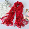 High end fashion embroidery flower lace silk scarf shawl women long wrap scarves - Red