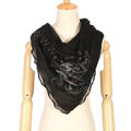 High end fashion flower triangle silk scarf shawl women soft thin wrap scarves - Black