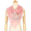 High end fashion flower triangle silk scarf shawl women soft thin wrap scarves - Pink