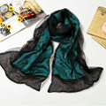 High end fashion long 100% silk scarf shawl women warm diamond wrap scarves - Green