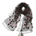High end fashion long flower mulberry silk scarf shawl women soft thin wrap scarves - Black