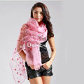 High end fashion long flower mulberry silk scarf shawl women soft thin wrap scarves - Pink