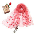 High end fashion long flower mulberry silk scarf shawl women soft thin wrap scarves - Watermelon red