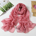 High end fashion long flower mulberry silk scarf shawl women soft wrap scarves - Pink