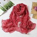 High end fashion long flower mulberry silk scarf shawl women soft wrap scarves - Red