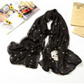 High end fashion long silk skull scarf shawl women warm wrap scarves - Black