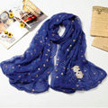 High end fashion long silk skull scarf shawl women warm wrap scarves - Blue