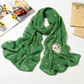 High end fashion long silk skull scarf shawl women warm wrap scarves - Green