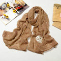 High end fashion long silk skull scarf shawl women warm wrap scarves - Khaki