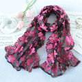 High end fashion sequin embroidery flower lace silk scarf shawl women wrap scarves - Black rose