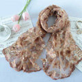 High end fashion sequin embroidery flower lace silk scarf shawl women wrap scarves - Khaki