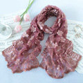 High end fashion sequin embroidery flower lace silk scarf shawl women wrap scarves - Purple