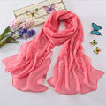 High-end fashion women long diamond embroidery mulberry silk scarf shawl wrap - Pink