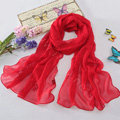 High-end fashion women long diamond embroidery mulberry silk scarf shawl wrap - Red