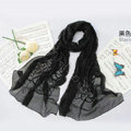 High-end fashion women long rose embroidery mulberry silk scarf shawl wrap - Black