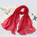 High-end fashion women long rose embroidery mulberry silk scarf shawl wrap - Red