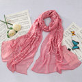 High-end fashion women long rose embroidery mulberry silk scarf shawl wrap - Rouge