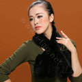 Knitted Mink fur scarf women winter warm female Flower wave neck wraps - Black