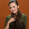 Knitted Mink fur scarf women winter warm female Flower wave neck wraps - Coffee