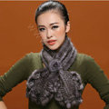Knitted Mink fur scarf women winter warm female Flower wave neck wraps - Dark Grey