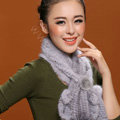 Knitted Mink fur scarf women winter warm female Flower wave neck wraps - Grey