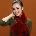 Knitted Mink fur scarf women winter warm female Flower wave neck wraps - Red