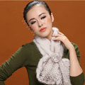 Knitted Mink fur scarf women winter warm female Flower wave neck wraps - White Black