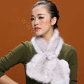 Knitted Mink fur scarf women winter warm female Flower wave neck wraps - White Grey