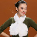 Knitted Mink fur scarf women winter warm female Flower wave neck wraps - White