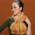 Knitted Mink fur scarf women winter warm female Flower wave neck wraps - Yellow