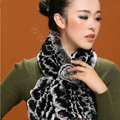Knitted Rex Rabbit fur scarf women winter warm female Flower wave neck wraps - Coffee Black