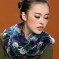 Knitted Rex rabbit fur scarf women winter warm female Circle neck wrap - Blue