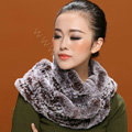 Knitted Rex rabbit fur scarf women winter warm female Circle neck wrap - Coffee