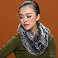 Knitted Rex rabbit fur scarf women winter warm female Circle neck wrap - Drak Grey