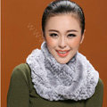 Knitted Rex rabbit fur scarf women winter warm female Circle neck wrap - Grey