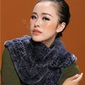 Knitted Rex rabbit fur scarf women winter warm female Circle neck wrap - Navy