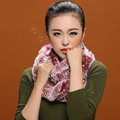 Knitted Rex rabbit fur scarf women winter warm female Circle neck wrap - Pink