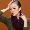 Knitted Rex rabbit fur scarf women winter warm female Circle neck wrap - Purple