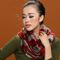 Knitted Rex rabbit fur scarf women winter warm female Circle neck wrap - Red Grey